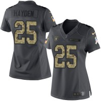 Women's Nike Oakland Raiders #25 D.J.Hayden Anthracite Stitched NFL Limited 2016 Salute to Service Jersey
