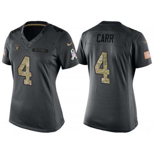 Women s Nike Oakland Raiders  4 Derek Carr Anthracite Stitched NFL Limited  2016 Salute to Service Jersey e5a9e0481