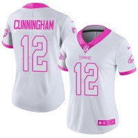 Women's Nike Philadelphia Eagles #12 Randall Cunningham White Pink Stitched NFL Limited Rush Fashion Jersey