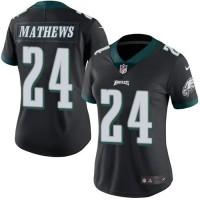 Women's Nike Philadelphia Eagles #24 Ryan Mathews Black Stitched NFL Limited Rush Jersey