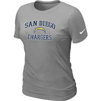 Women's Nike San Diego Chargers Heart & Soul NFL T-Shirt Light Grey