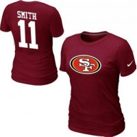 Women's Nike San Francisco 49ers #11 Alex Smith Name & Number T-Shirt Red