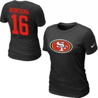 Women's Nike San Francisco 49ers #16 Joe Montana Name & Number T-Shirt Black