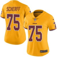 Women's Nike Washington Redskins #75 Brandon Scherff Gold Stitched NFL Limited Rush Jersey