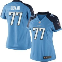 Women's Tennessee Titans #77 Taylor Lewan Light Blue NFL Jersey