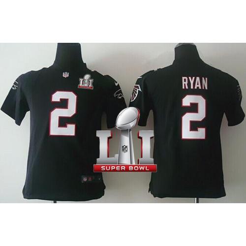 1cb50ad54 Youth Nike Atlanta Falcons  2 Matt Ryan Black Alternate Super Bowl LI 51  Stitched NFL Elite Jersey