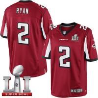 Youth Nike Atlanta Falcons #2 Matt Ryan Red Team Color Super Bowl LI 51 Stitched NFL Limited Jersey
