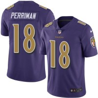 Youth Nike Baltimore Ravens #18 Breshad Perriman Purple Stitched NFL Limited Rush Jersey