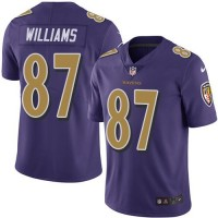 Youth Nike Baltimore Ravens #87 Maxx Williams Purple Stitched NFL Limited Rush Jersey