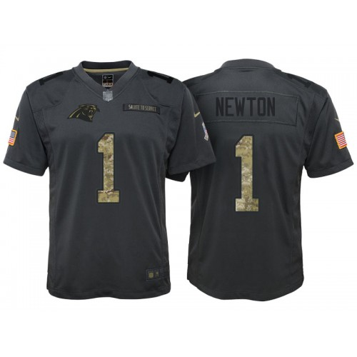 793222997 Youth Nike Carolina Panthers  1 Cam Newton Anthracite Stitched NFL Limited  2016 Salute to Service Jersey