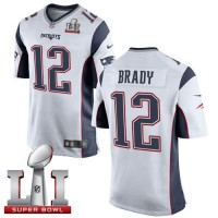 Youth Nike New England Patriots #12 Tom Brady White Super Bowl LI 51 Stitched NFL New Elite Jersey