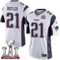 Youth Nike New England Patriots #21 Malcolm Butler White Super Bowl LI 51 Stitched NFL New Elite Jersey