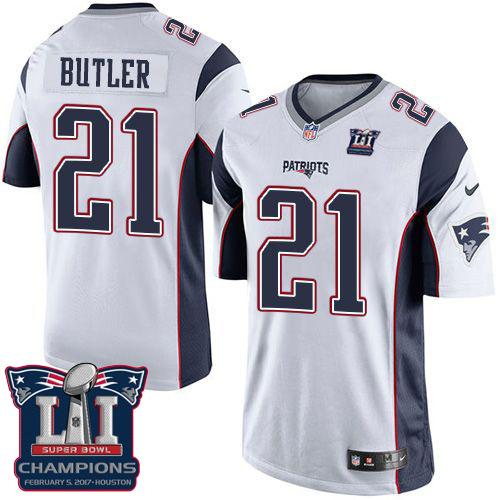 8438ab61aca Youth Nike New England Patriots  21 Malcolm Butler White Super Bowl LI  Champions Stitched NFL New Elite Jersey