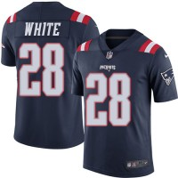 Youth Nike New England Patriots #28 James White Navy Blue Stitched NFL Limited Rush Jersey