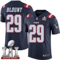 Youth Nike New England Patriots #29 LeGarrette Blount Navy Blue Super Bowl LI 51 Stitched NFL Limited Rush Jersey