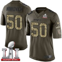 Youth Nike New England Patriots #50 Rob Ninkovich Green Super Bowl LI 51 Stitched NFL Limited Salute to Service Jersey