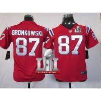Youth Nike New England Patriots #87 Rob Gronkowski Red Alternate Super Bowl LI 51 Stitched NFL Elite Jersey