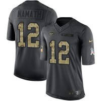 Youth Nike New York Jets #12 Joe Namath Anthracite Stitched NFL Limited 2016 Salute to Service Jersey