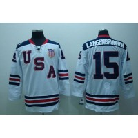 2010 Olympic Team USA #15 Jamie Langenbrunner Stitched White 1960 Throwback NHL Jersey