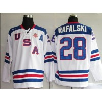 2010 Olympic Team USA #28 Brian Rafalski Stitched White 1960 Throwback NHL Jersey