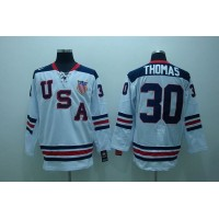 2010 Olympic Team USA #30 Tim Thomas Stitched White 1960 Throwback NHL Jersey