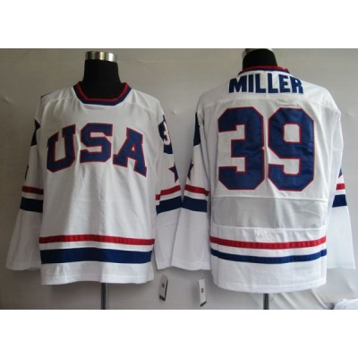 2010 Olympic Team USA #39 Ryan Miller Stitched White NHL Jersey