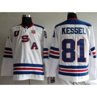 2010 Olympic Team USA #81 Phil Kessel Stitched White 1960 Throwback NHL Jersey