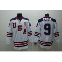 2010 Olympic Team USA #9 Zach Parise Stitched White 1960 Throwback NHL Jersey