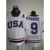 2010 Olympic Team USA #9 Zach Parise Stitched White NHL Jersey