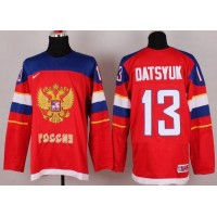 2014 Olympic Team Russia #13 Pavel Datsyuk Red Stitched NHL Jersey