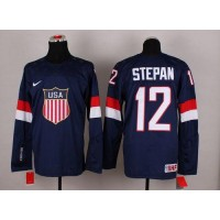 2014 Olympic Team USA #12 Derek Stepan Navy Blue Stitched NHL Jersey