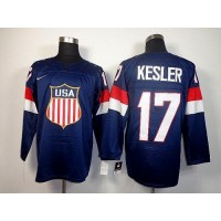 2014 Olympic Team USA #17 Ryan Kesler Navy Blue Stitched NHL Jersey