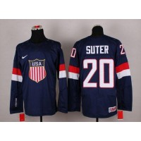2014 Olympic Team USA #20 Ryan Suter Navy Blue Stitched NHL Jersey
