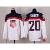 2014 Olympic Team USA #20 Ryan Suter White Stitched NHL Jersey