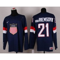 2014 Olympic Team USA #21 James Van Riemsdyk Navy Blue Stitched NHL Jersey