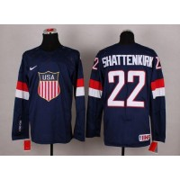 2014 Olympic Team USA #22 Kevin Shattenkirk Navy Blue Stitched NHL Jersey