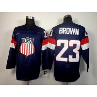 2014 Olympic Team USA #23 Dustin Brown Navy Blue Stitched NHL Jersey