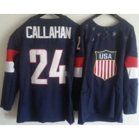 2014 Olympic Team USA #24 Ryan Callahan Navy Blue Stitched NHL Jersey
