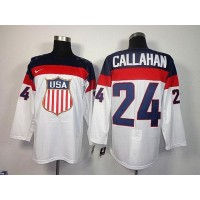 2014 Olympic Team USA #24 Ryan Callahan White Stitched NHL Jersey