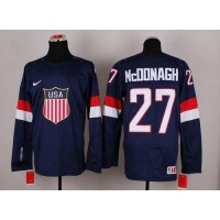 2014 Olympic Team USA #27 Ryan McDonagh Navy Blue Stitched NHL Jersey