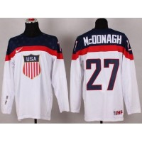 2014 Olympic Team USA #27 Ryan McDonagh White Stitched NHL Jersey