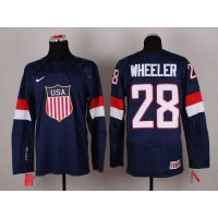 2014 Olympic Team USA #28 Blake Wheeler Navy Blue Stitched NHL Jersey