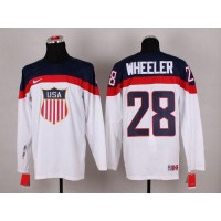 2014 Olympic Team USA #28 Blake Wheeler White Stitched NHL Jersey