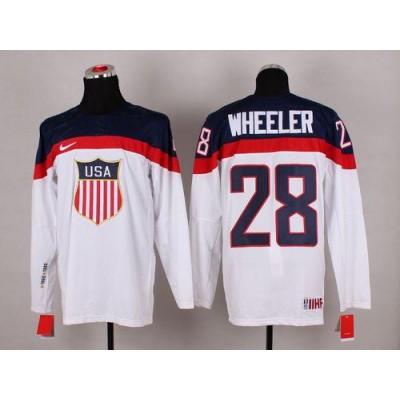 2014 Olympic Team USA #28 Blake Wheeler White Stitched NHL Jersey