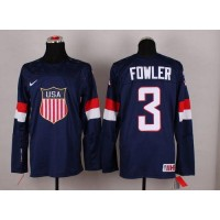 2014 Olympic Team USA #3 Cam Fowler Navy Blue Stitched NHL Jersey