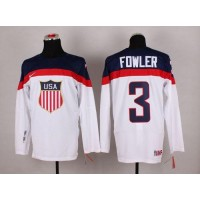 2014 Olympic Team USA #3 Cam Fowler White Stitched NHL Jersey