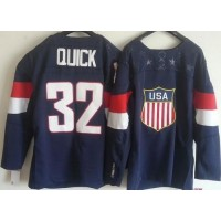 2014 Olympic Team USA #32 Jonathan Quick Navy Blue Stitched NHL Jersey