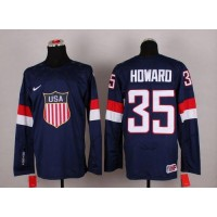 2014 Olympic Team USA #35 Jimmy Howard Navy Blue Stitched NHL Jersey