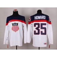 2014 Olympic Team USA #35 Jimmy Howard White Stitched NHL Jersey