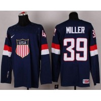 2014 Olympic Team USA #39 Ryan Miller Navy Blue Stitched NHL Jersey